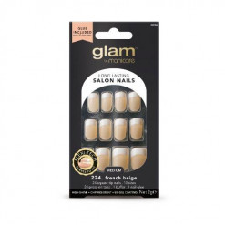 Manicare Glam Glue On Nails French Sq Beige Med