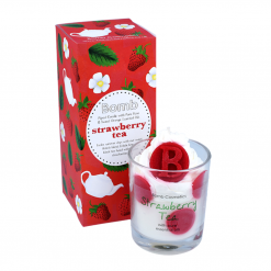 Bomb Cosmetics Strawberry Tea Piped Glass Candle
